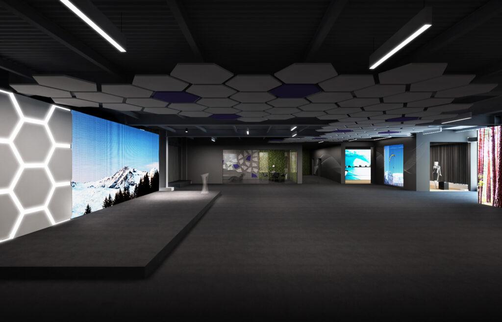 Rendering dell'ambiente principale dello showroom di Wave&Co